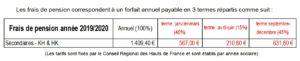 tarifs internat 2019 - 2020